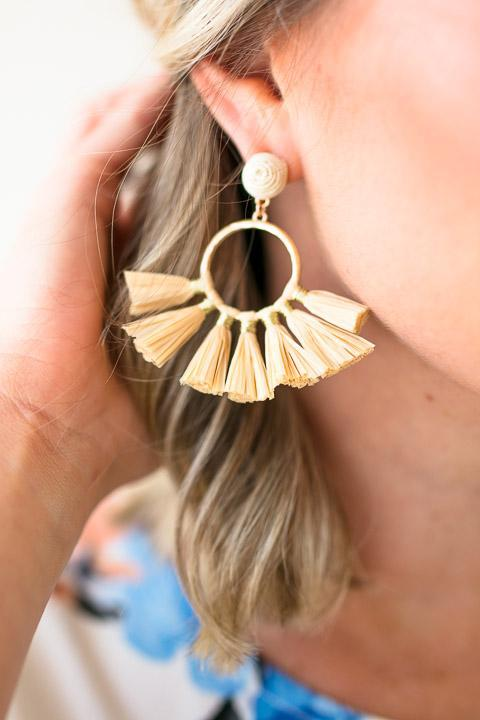Tassel Earrings Raffia Material