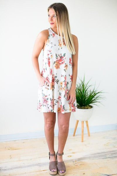Sleeveless Knit Dress Floral Print