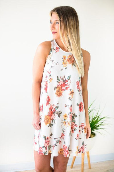 Sleeveless Dress W Floral Print