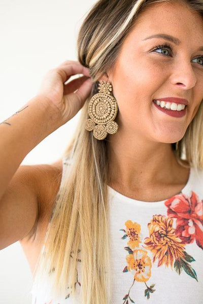 Brown Beaded Earrings