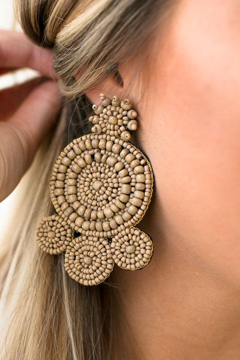 Brown Beaded Statement Earrings
