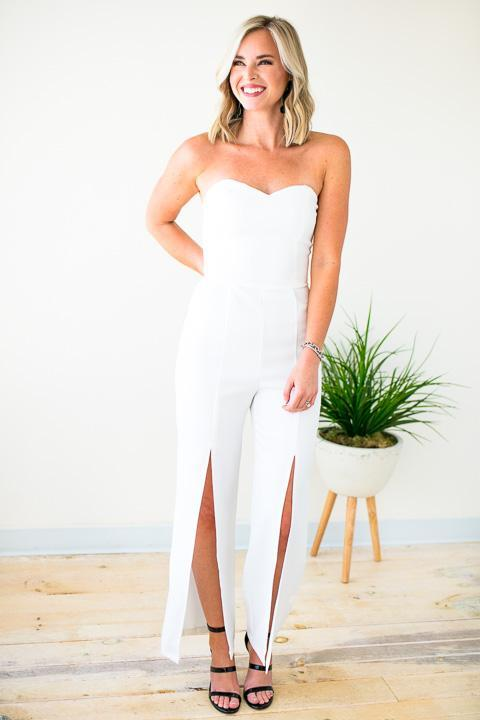 White Slit Leg Strapless Jumpsuit