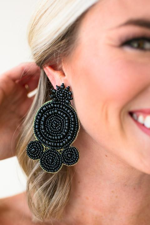 Black Beaded Statement Earrings