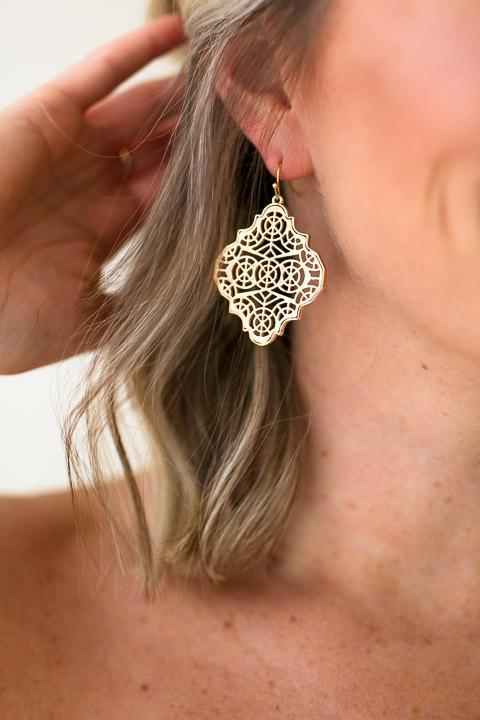Gold Design Dangle Earrings