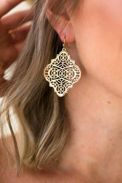 Accessories Intricate Details Gold Dangle Earrings - Lotus Boutique