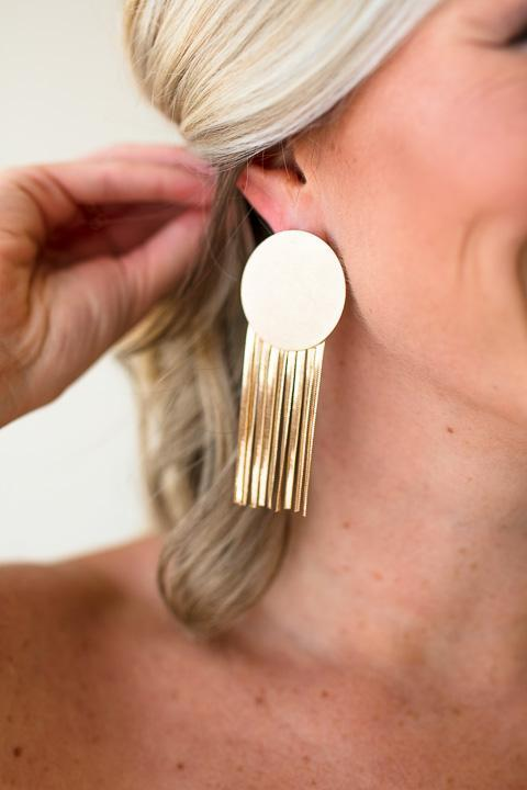 Retro Deco Gold Circle Metal Tassel Earrings