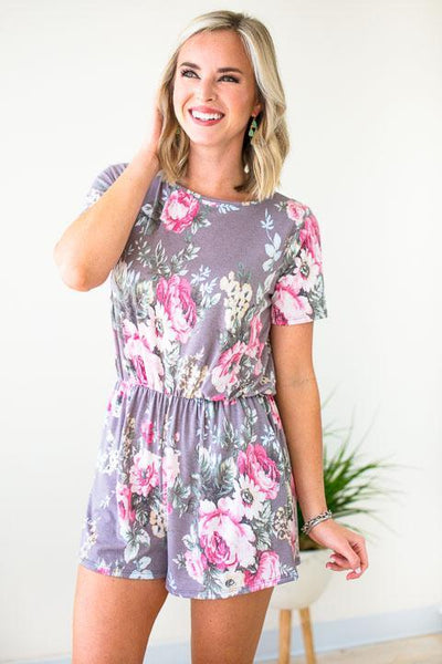 Playsuits No Rest Floral Romper with Pockets - Lotus Boutique