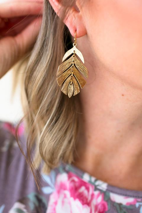 Gold Leaf Design Earrings