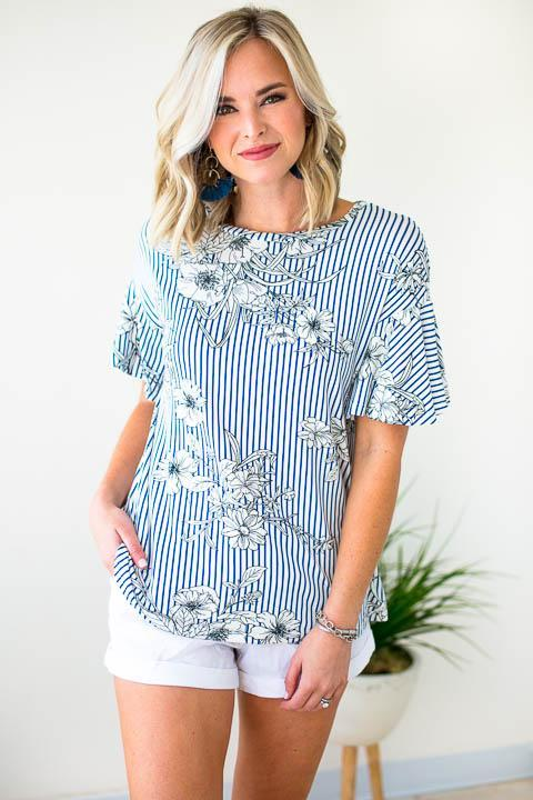 Blue Stripe Floral Top