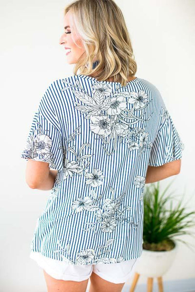 Tops Over It Ruffle Sleeve Stripe Floral Top - Lotus Boutique