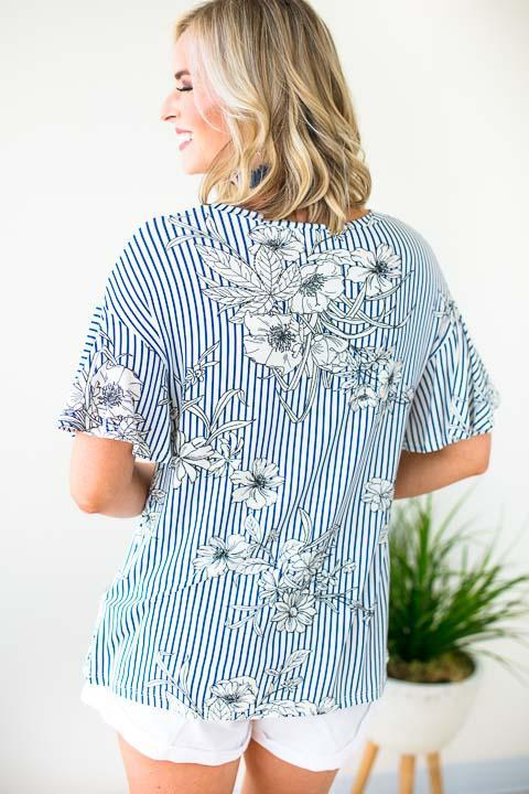 Stripe Floral Top