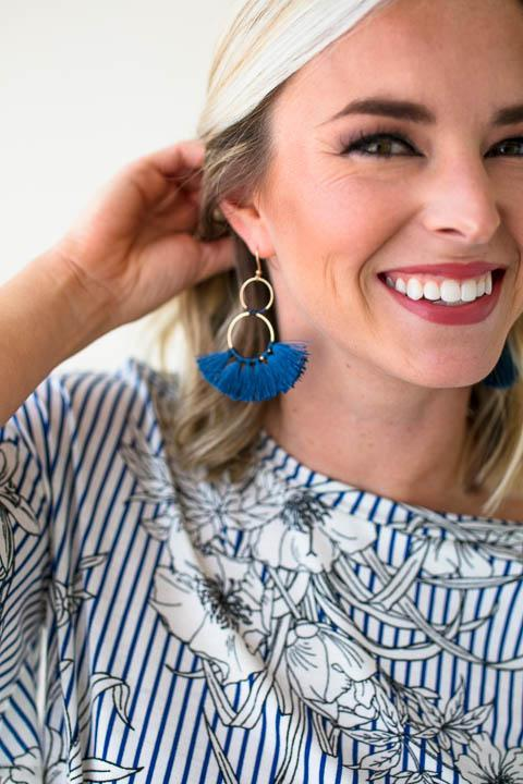 Double Hoop Navy Tassel Earrings