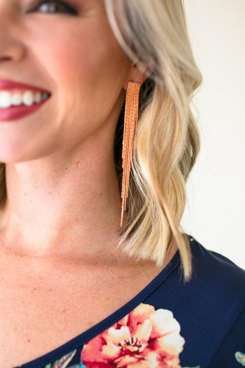 Fire Away Rose Gold Tassel Earrings