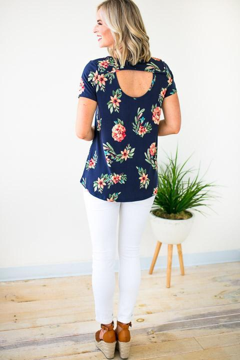 Tops Setting Sun Floral Back Detail Top - Lotus Boutique