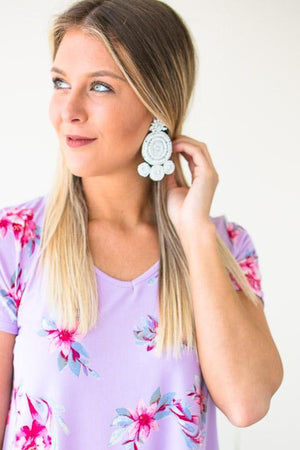 Beaded Design Earrings In White