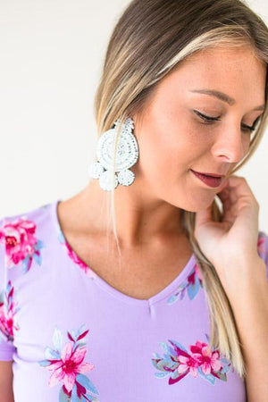 White Earrings W Beaded Design