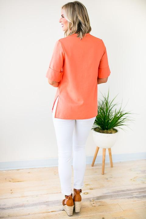 Tops Find The Time Coral Linen Top - Lotus Boutique