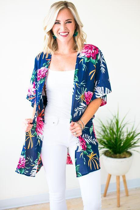 0f9a9bb6e Tops Some Tropic Time Short Sleeve Kimono - Lotus Boutique