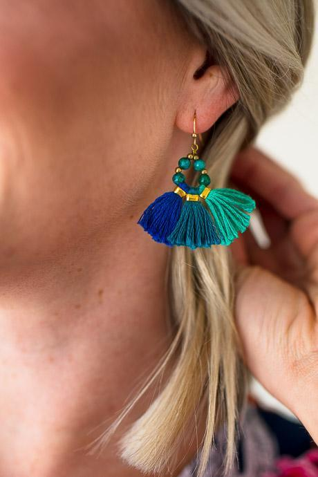 Blue Green Tassel Earrings