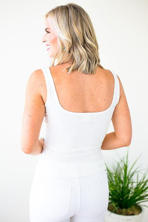 Basic White Wide Neck Tank