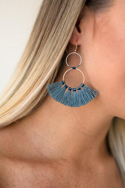 Accessories Eyes on You Double Hoop Tassel Earrings - Lotus Boutique