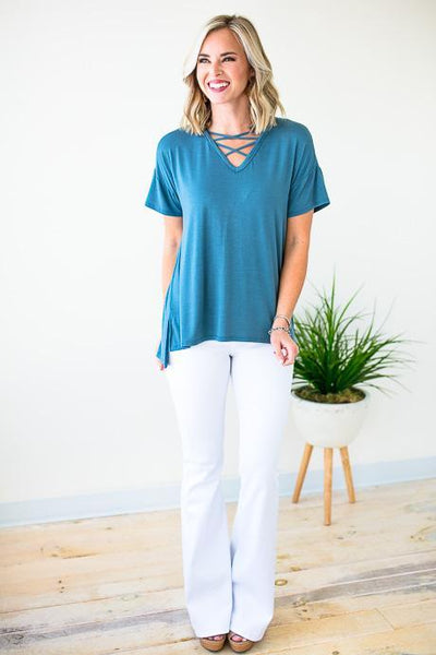 Cross Front Detail Blue Top