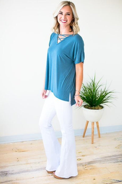 Cross Detail Blue Top