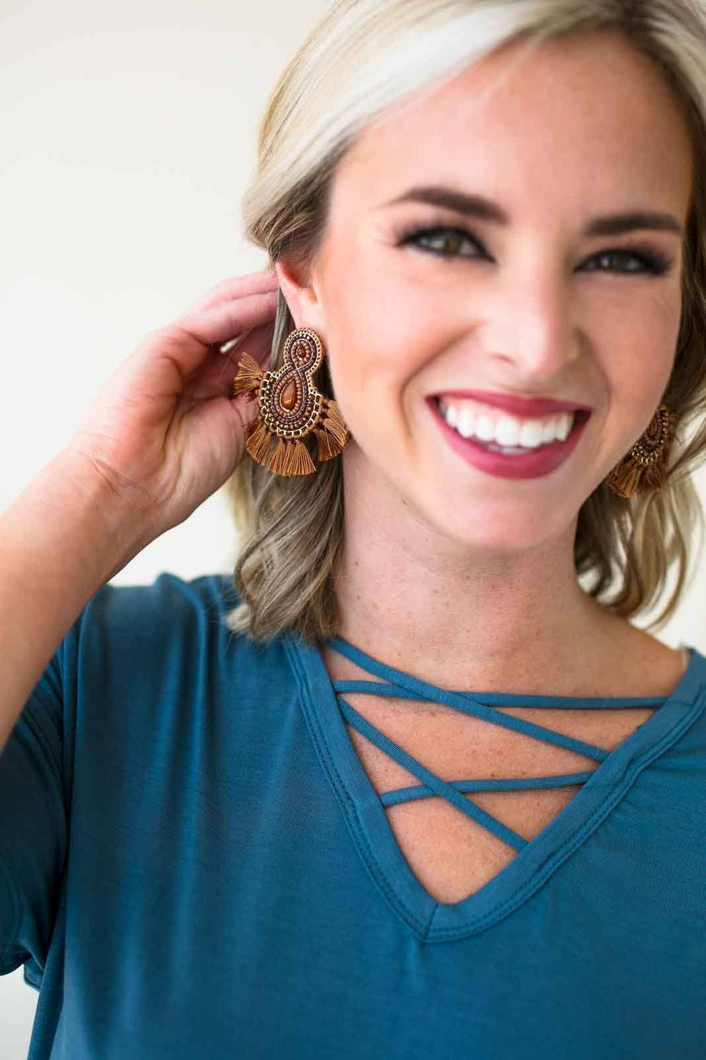 Brown Beaded Tassel Earrings