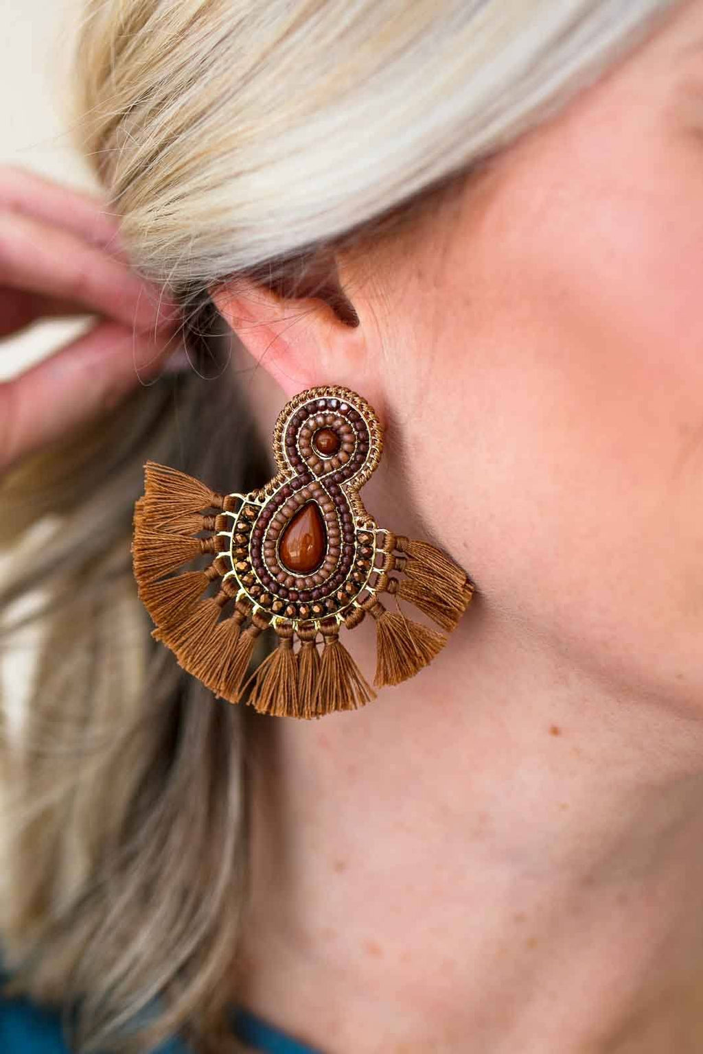 Beaded Detail Tassel Earrings