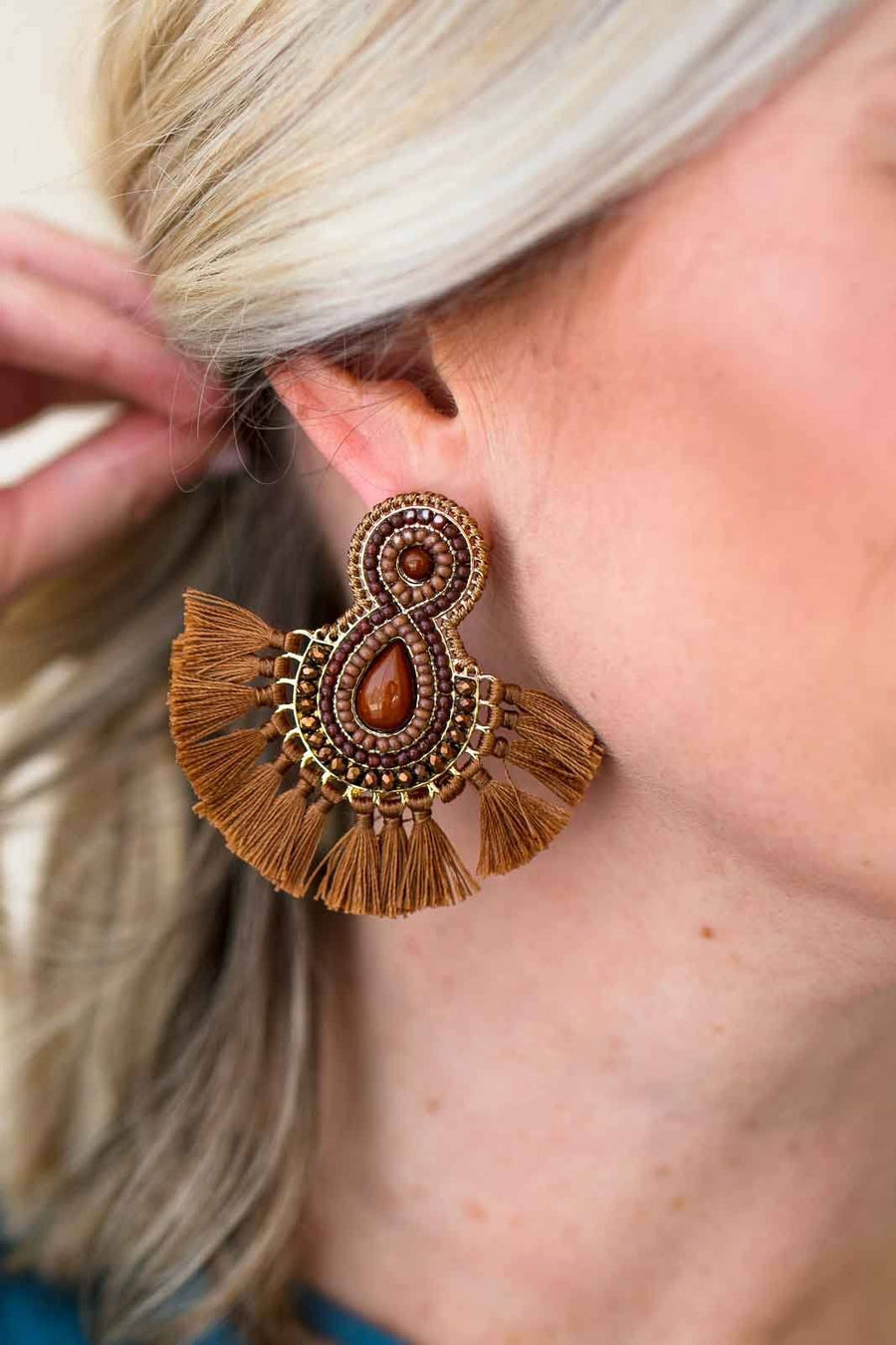 Accessories Teardrops On My Guitar Brown Beaded Tassel Earrings - Lotus Boutique