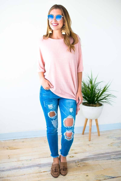 Tops Don't Live Without Asymmetric Knot Top - Rose - Lotus Boutique