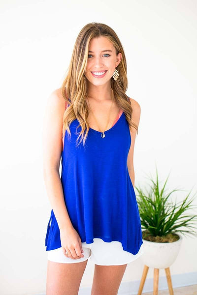 Cobalt Blue Strappy Tank Top
