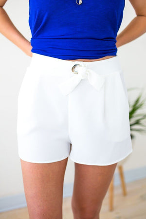 White Knot Front Shorts