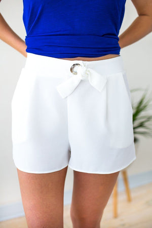 Knot Front White Shorts
