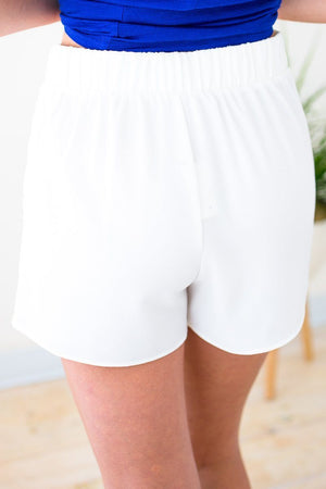 White Textured Knot Front Shorts
