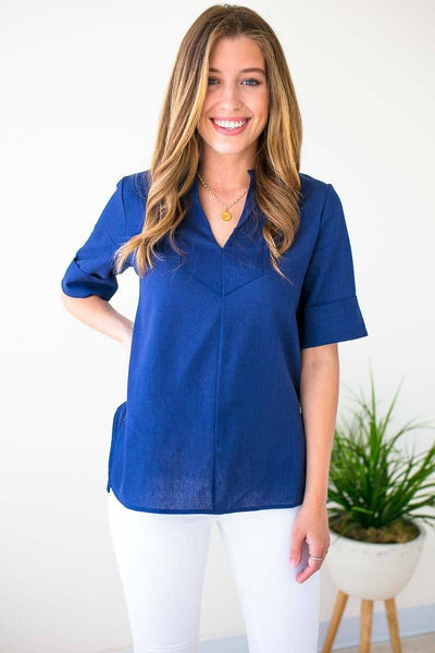Tops Find the Time Navy Linen Top - Lotus Boutique