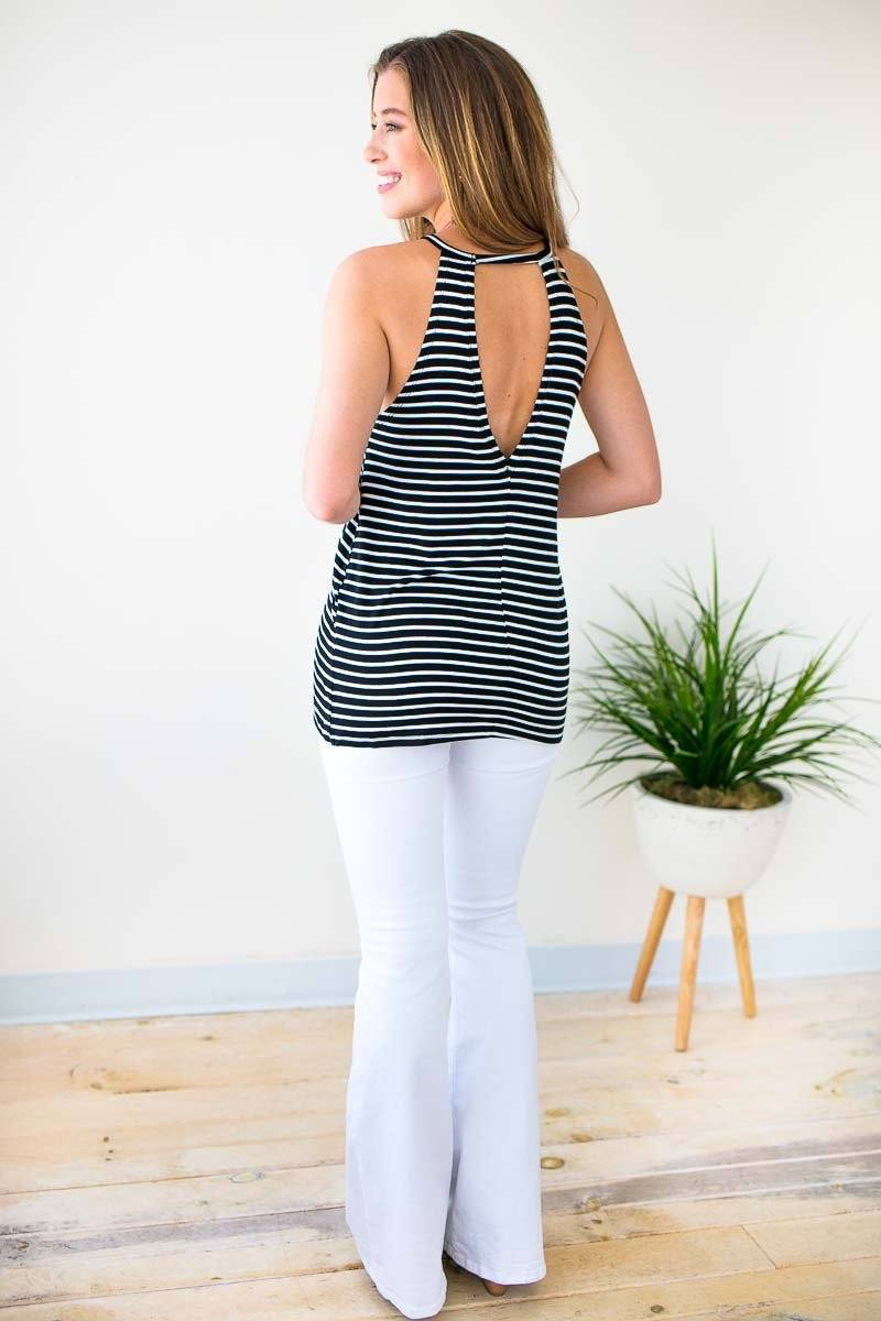 Tops Tell Me About It Stud Open Back Stripe Tank - Lotus Boutique