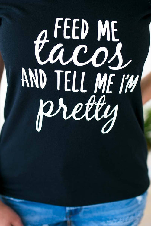 Feed Me Tacos V Neck Graphic Tee