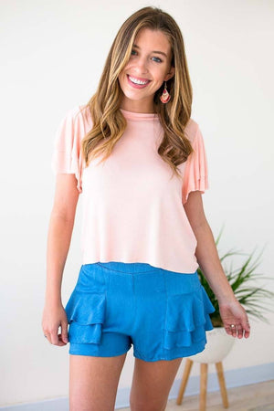 Blush Cropped Ruffle Sleeve Top