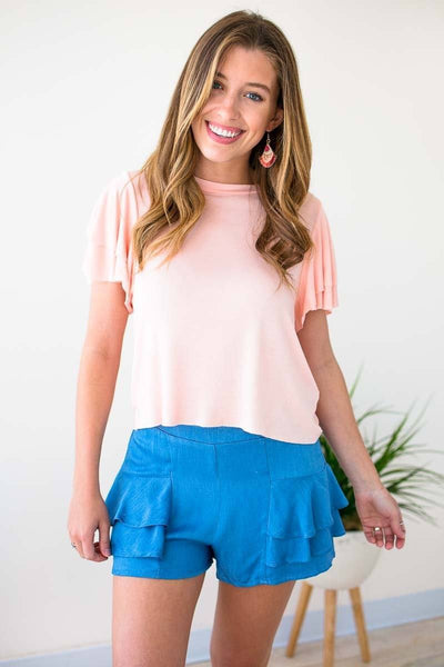 Tops Land My Love Ruffle Sleeve Cropped Top - Blush - Lotus Boutique