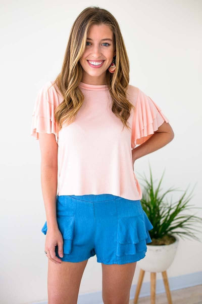 Ruffle Sleeve Short Top