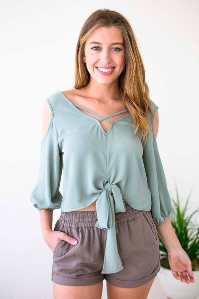 Tops Searching for You Tie Front Sage Top - Lotus Boutique