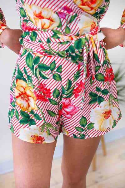 Bottoms Ready for More Floral Over Stripe Shorts - Lotus Boutique
