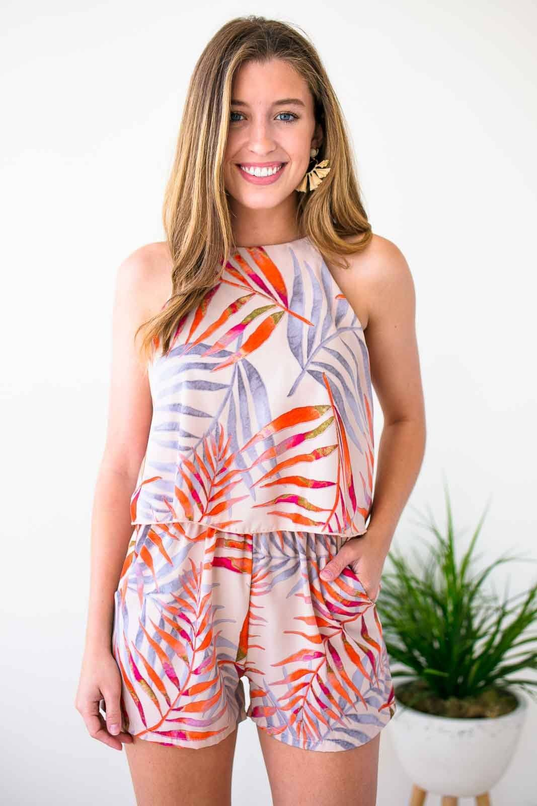 Off Tropic High Neck Taupe Romper