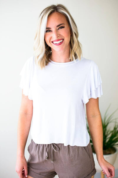 Tops Land My Love Ruffle Sleeve Cropped Top - White - Lotus Boutique