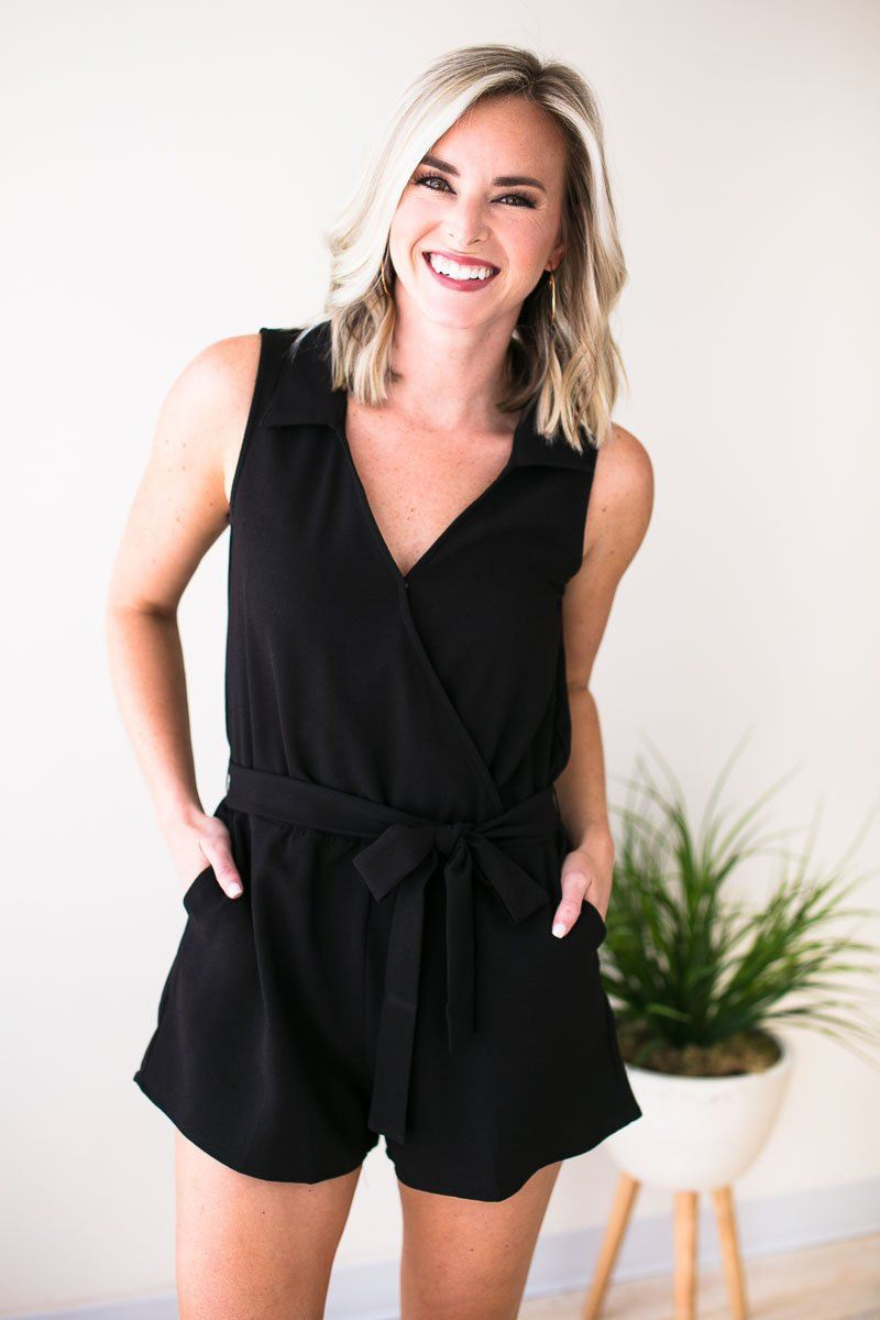 Playsuits Livin' Life Black V Neck Romper - Lotus Boutique
