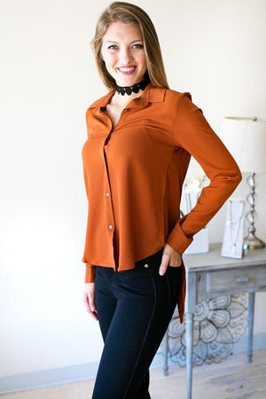 Fire Escape Tux Tail Top - Burnt Orange-Tops-Lotus Boutique-Lotus Boutique