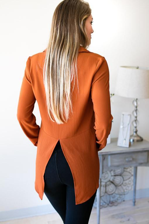 Tops Fire Escape Tux Tail Top - Burnt Orange - Lotus Boutique