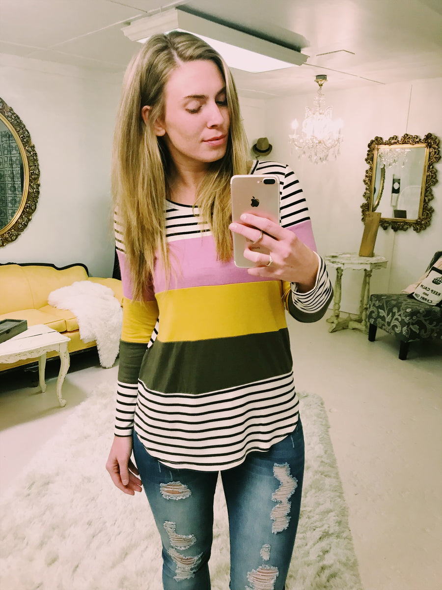 All The Beads Color Block Top With Stripes