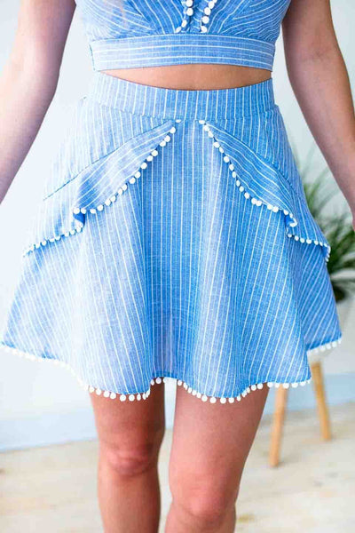Bottoms Back to You Chambray Ruffle Skirt - Lotus Boutique